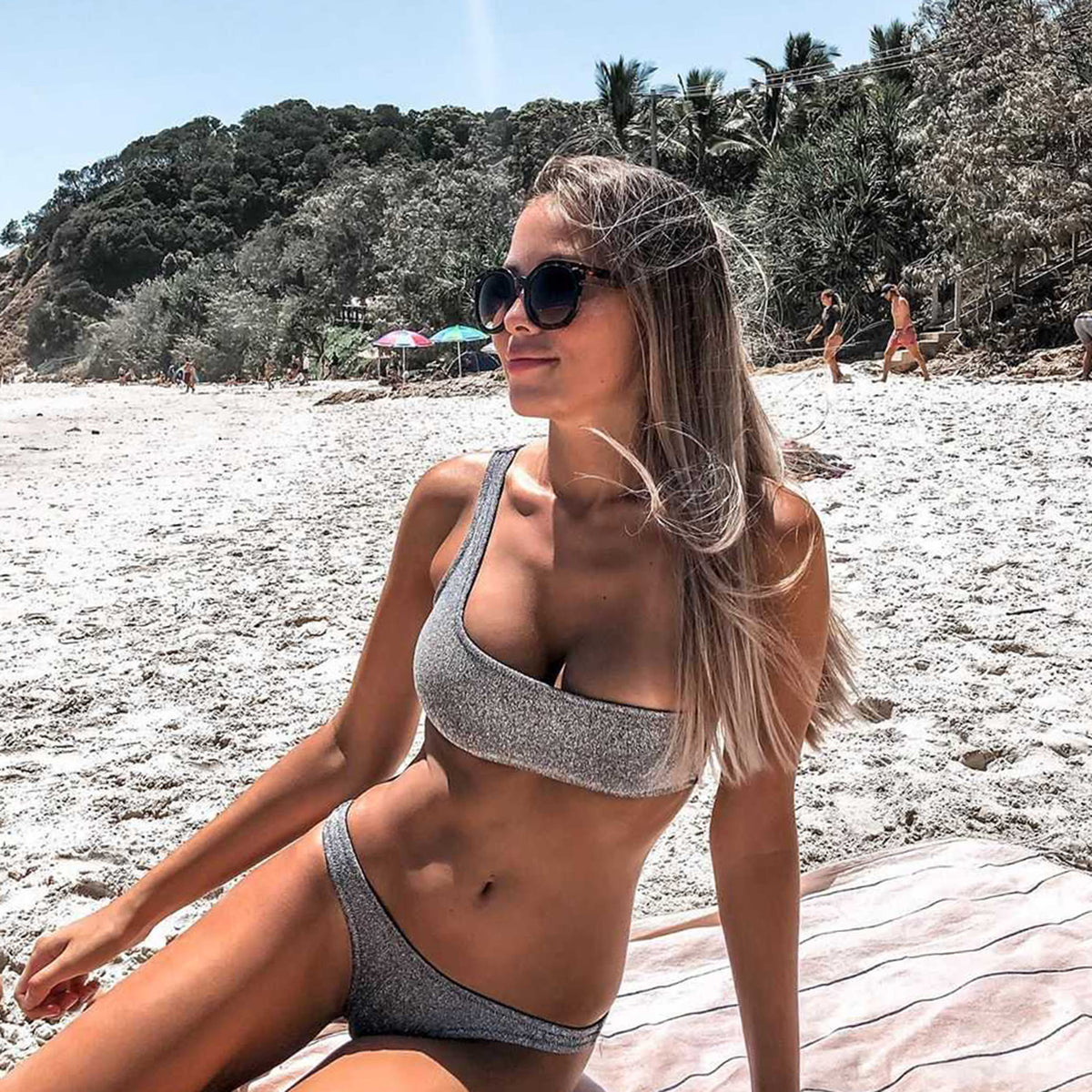 Sliver Knit One Shoulder Crop Top Bikini Swimsuit - worthtryit.com