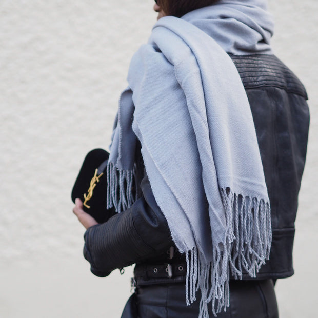 Solid Color Tassel Scarf - worthtryit.com