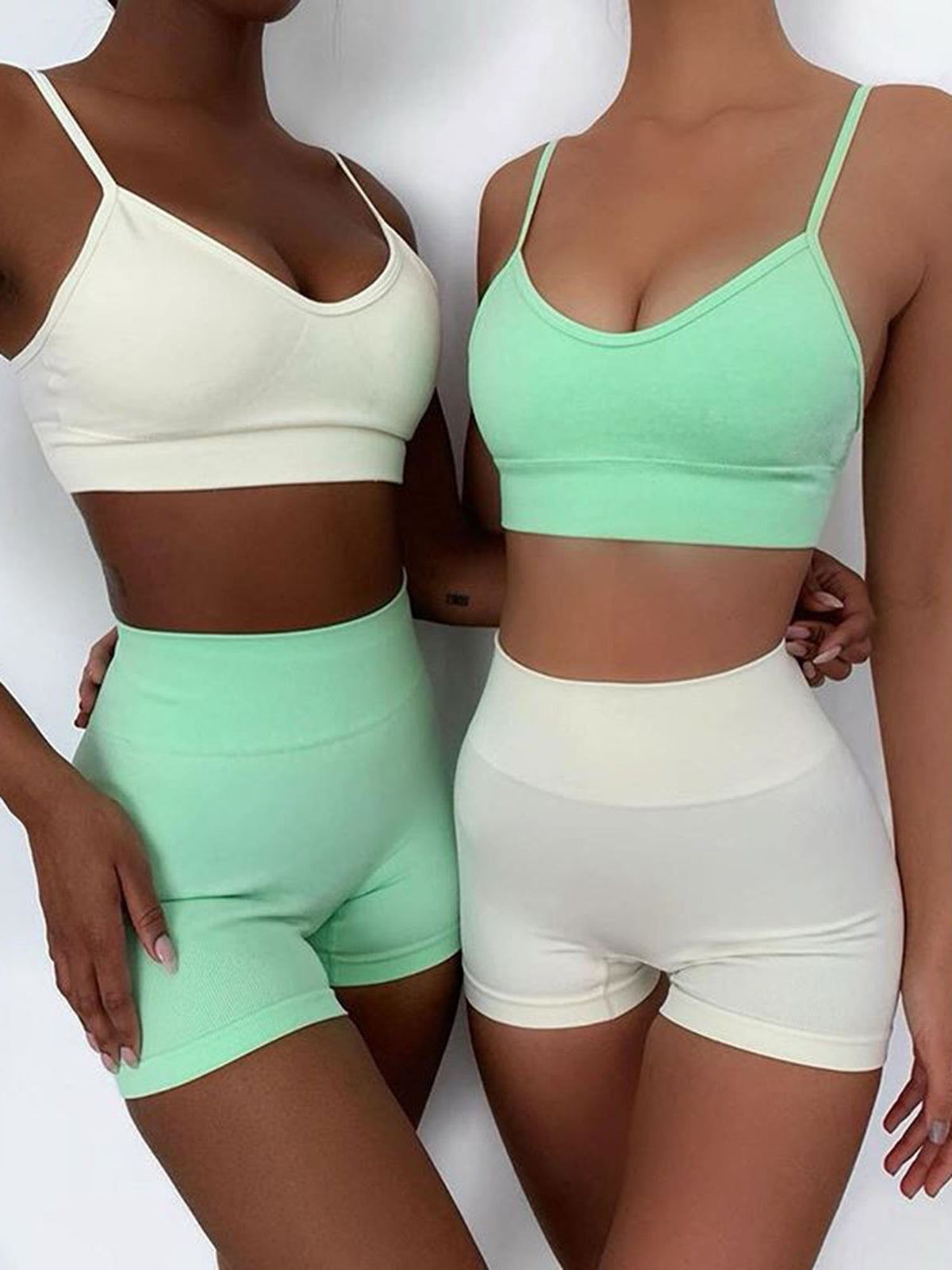 Solid Color Seamless Strappy Sport Top & High Waist Shorts