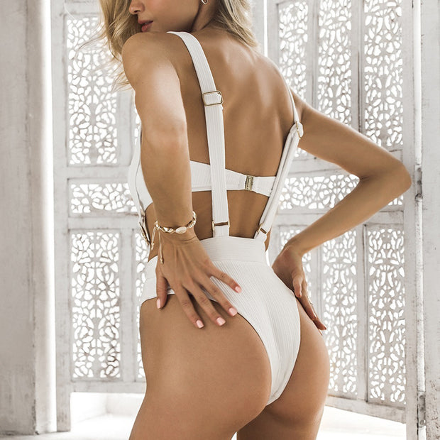 Ribbed Wide Straps High Waist Bandeaux Bikini Set - worthtryit.com