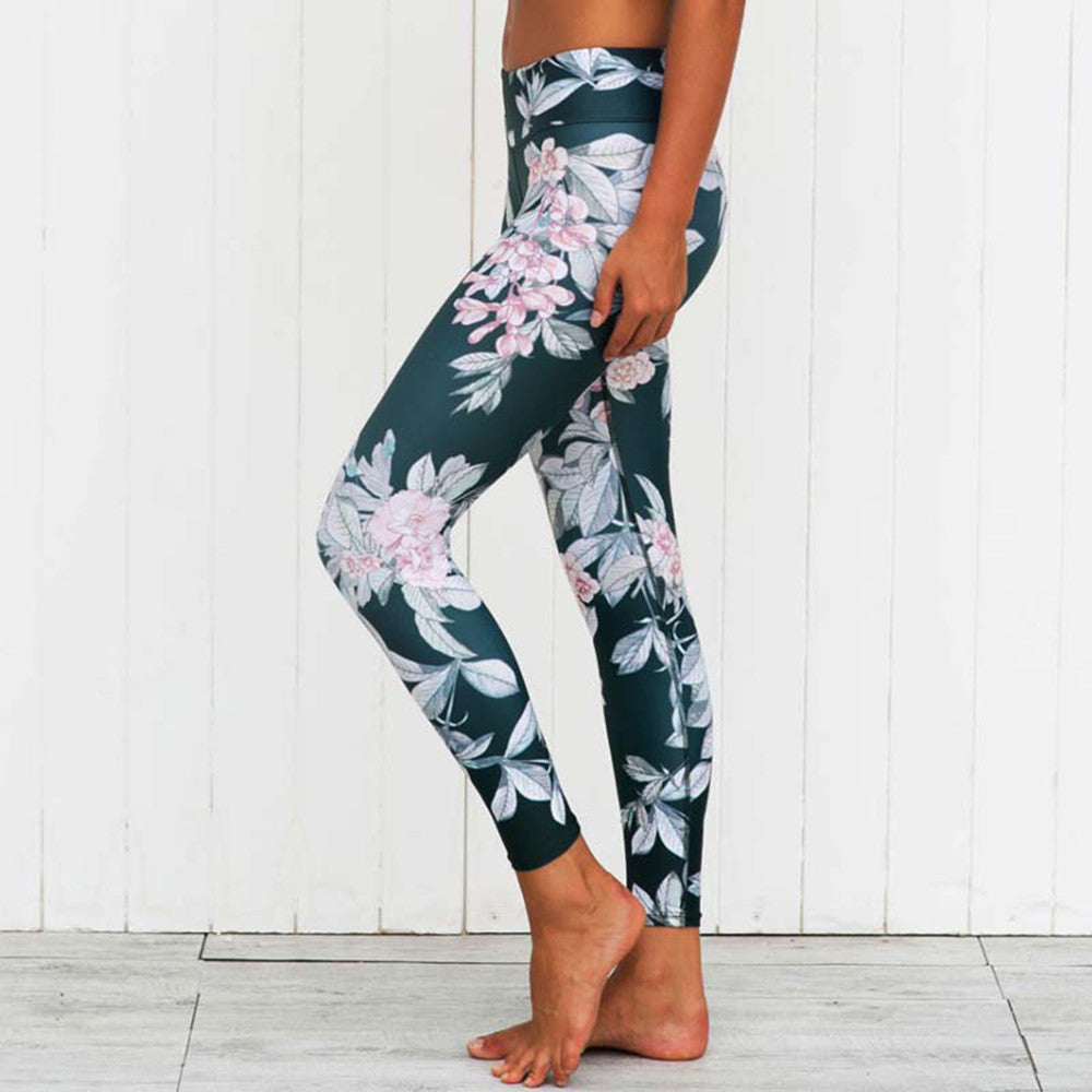 Floral Yoga Pants Fitness Leggings-Green - worthtryit.com