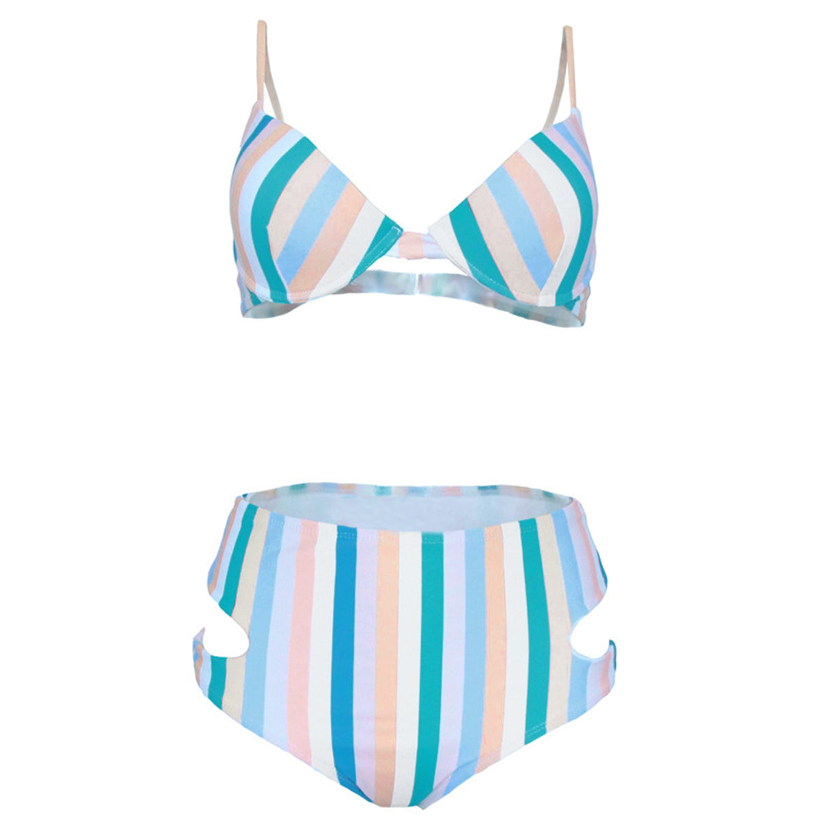 Color Stripes Push Up High Waist Bikini Set - worthtryit.com
