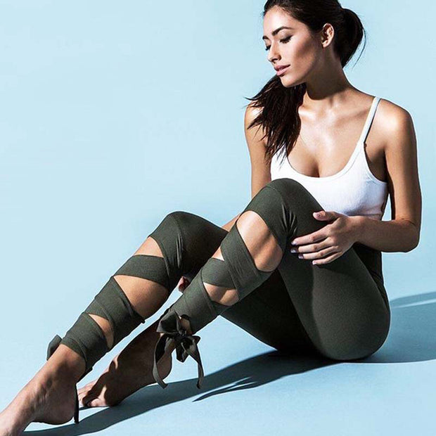 Bandage Tie Fitness Pants Dance Legging Lace Up Yoga Pants-Green - worthtryit.com
