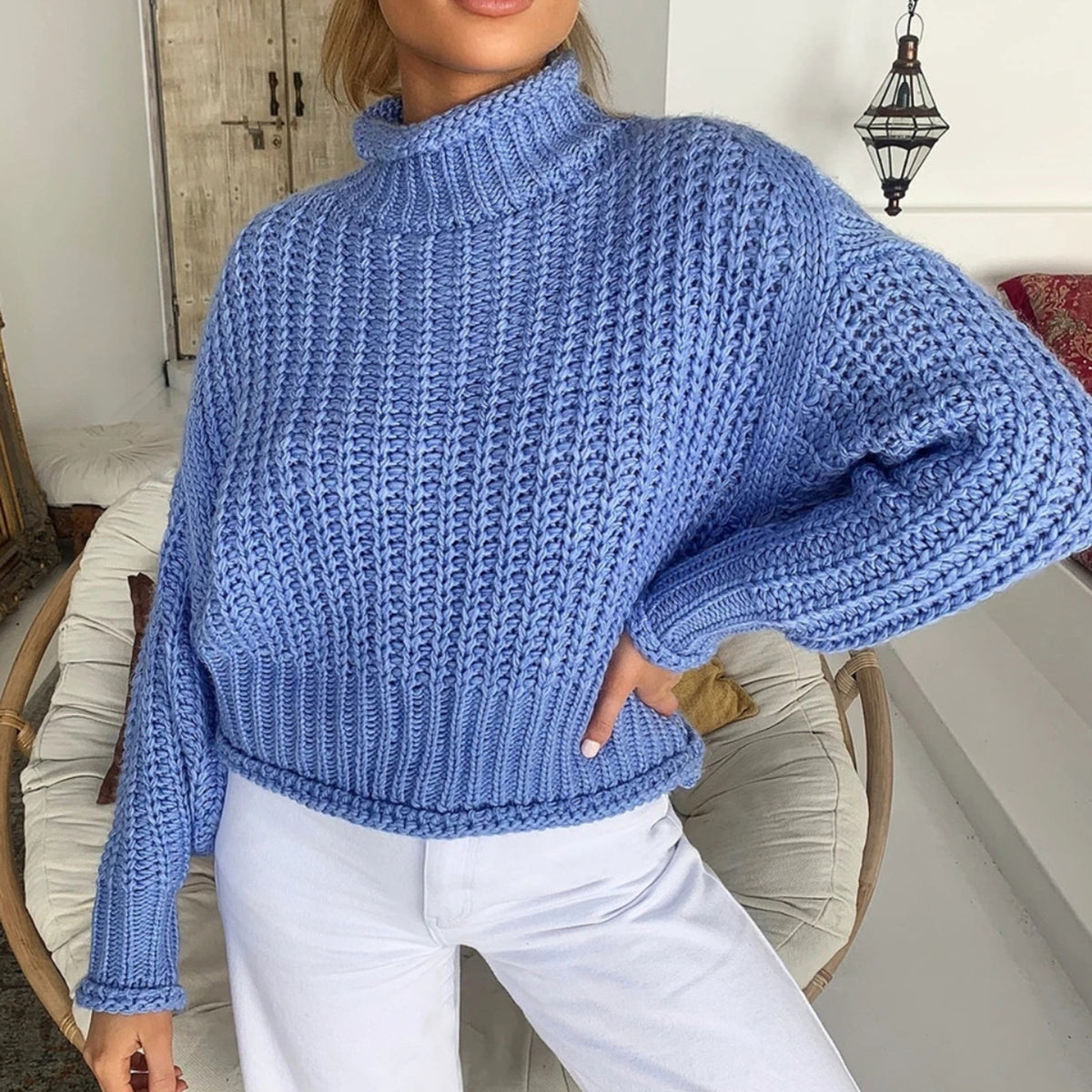 Mock Neck Loose Crop Knit Sweater