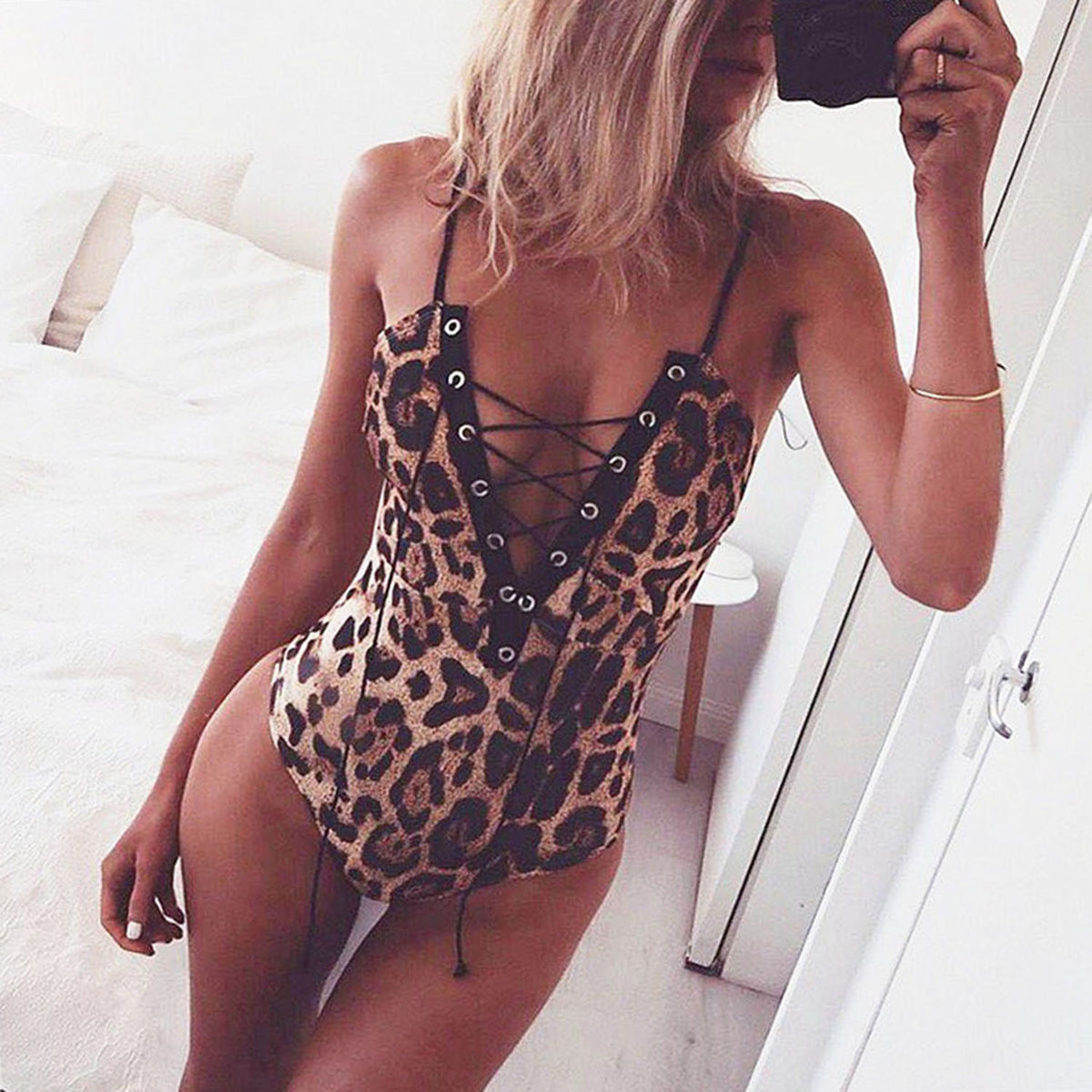 Leopard Print Lace Up Front One Piece Swimsuit - worthtryit.com