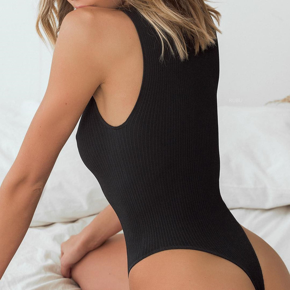 Sporty Ribbed High Neck High Rise One Piece Swimwear - worthtryit.com
