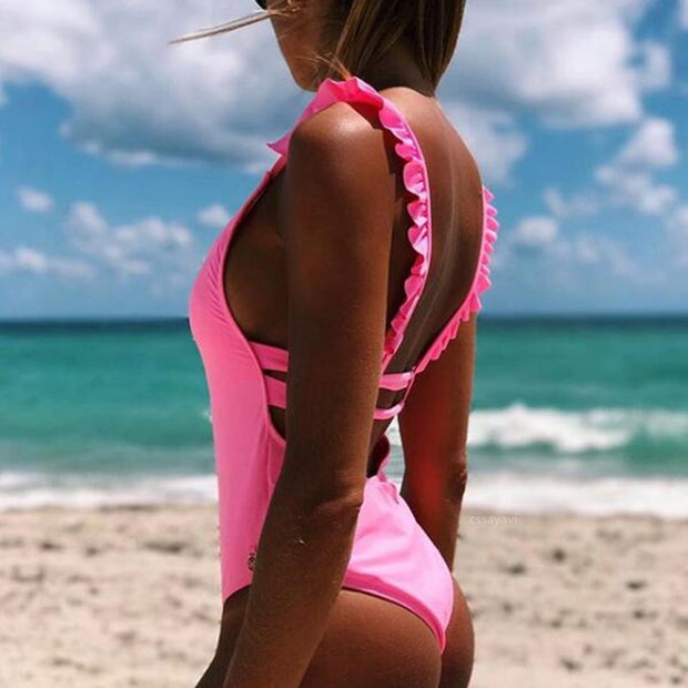 Ruffle Strap Open Back One Piece Swimsuit - worthtryit.com