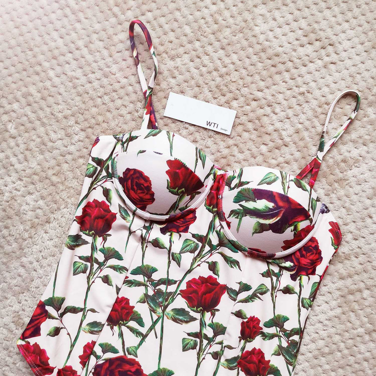 Floral Rose Print Underwire One Piece Swimsuit - worthtryit.com