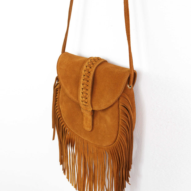 "Genuine leather bohemian tassel shoulder bag 7.75""*7.48"" - Brown - worthtryit.com"