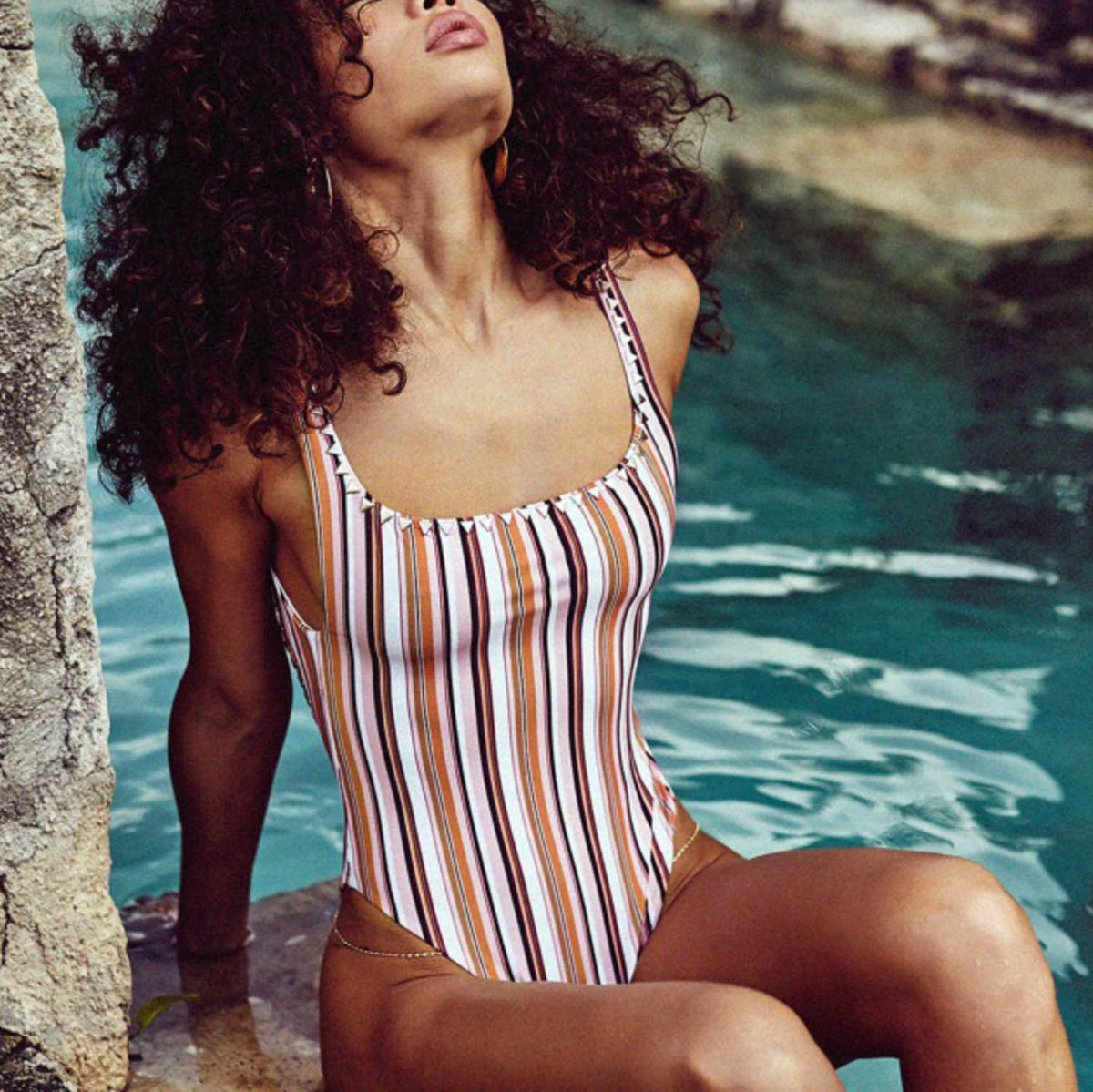 Triangle Studs High Cut One Piece Swimsuit - worthtryit.com