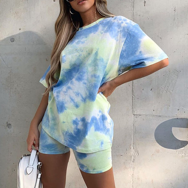 Tie Dye Round Neck T-Shirt Two Piece Suit MD20