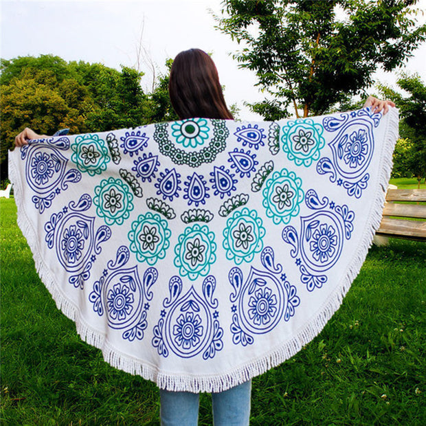 Boho Beach Tapestry Mandala Hippie Throw Mat Towel-Navy - worthtryit.com
