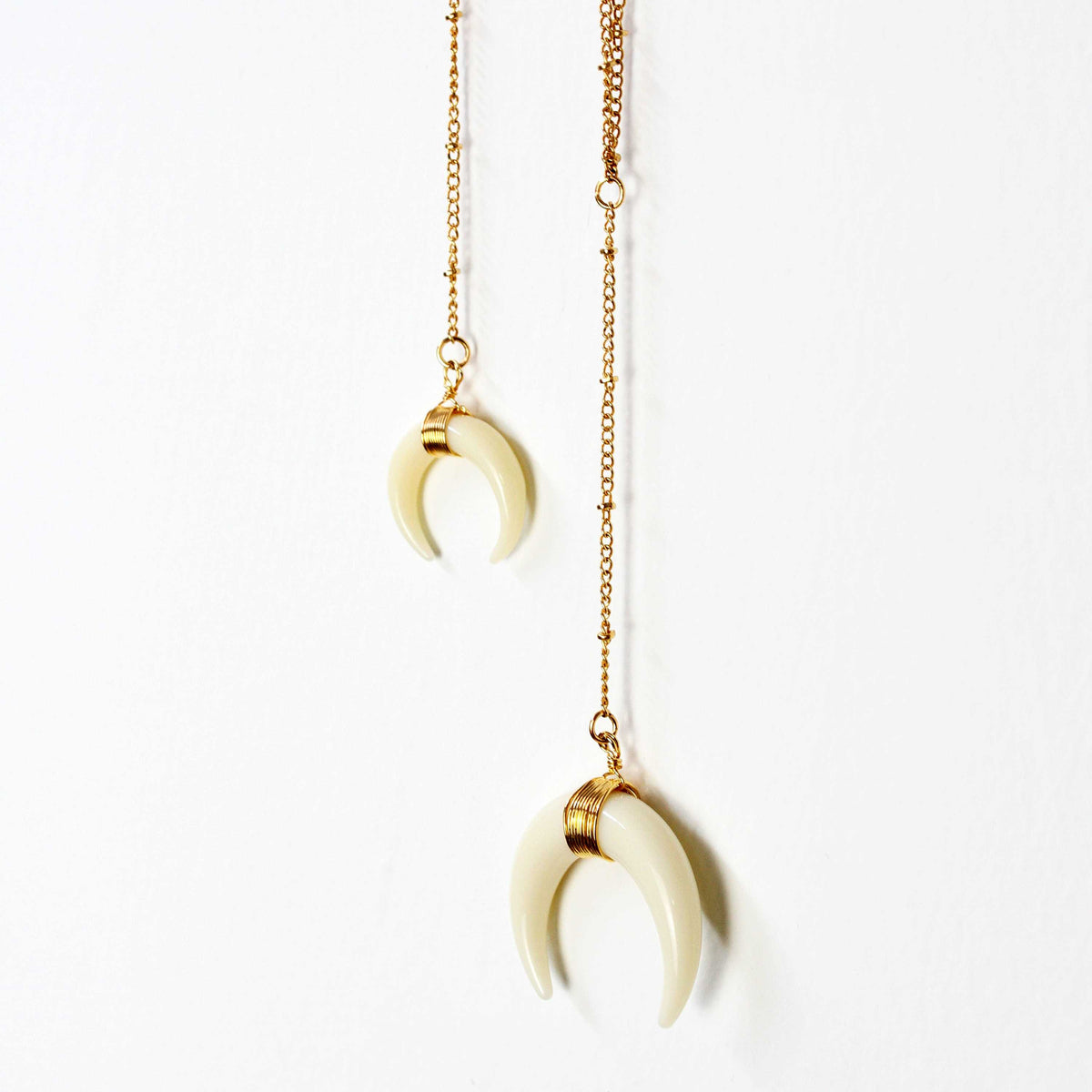 Free Gift - Handmade Double Horn Moon Pendant Necklace - worthtryit.com