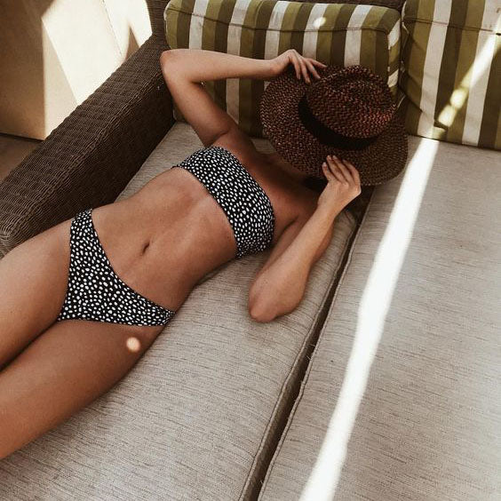 Cute Spot High Cut Bandeau Dot Bikini Set - worthtryit.com
