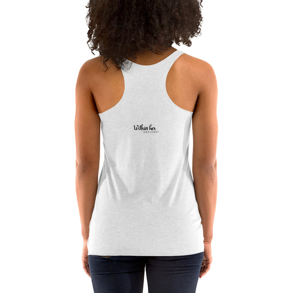 Women's Racerback Tank, Graphic T-shirt, Floral design top, Positive design top