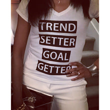 Trend Setter Goal Getter Short Sleeved V-Neck Tee
