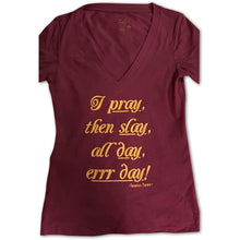 Pray Then Slay Women's Deep V-Neck Fitted Tee