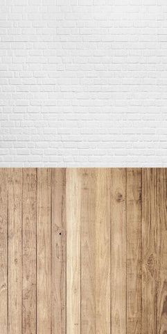 White Gray Brick Wall Wood Floor Photography Studio Backdrop Background