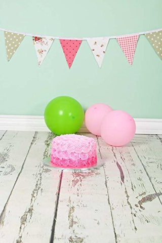 Birthday Cake Ballon Flags Wood Floor Photography Studio Backdrop Prop Background