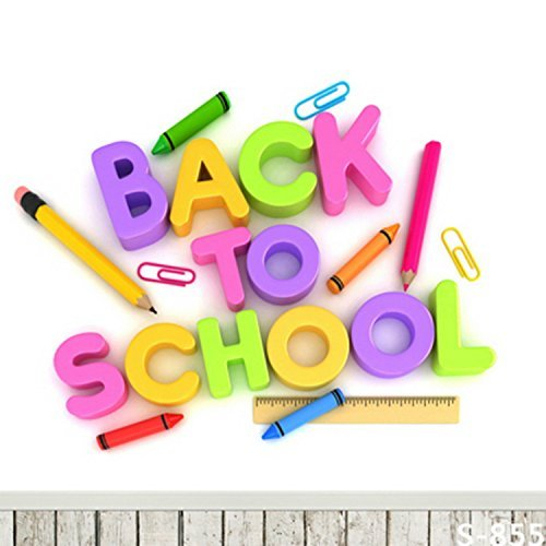 Stationery Colorful Back to School Wood Floor Photography Studio Backdrop Background