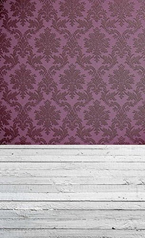 Purple Pattern Damask Tufted Wood Floor Photography Studio Backdrop Prop Background