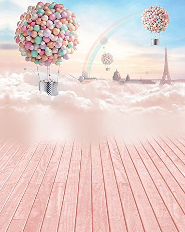 Dreamy Colorful Balloon Rainbow Cloud Photography Studio Backdrop Background