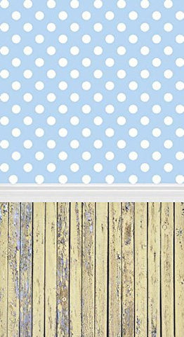 Bule White Dots Wood Floor Photography Studio Backdrop Background