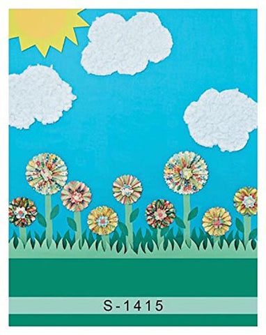 Cartoon Grass Sun Cloud Flower Photography Studio Backdrop Background