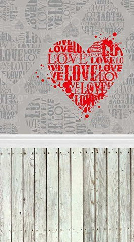 Wood Floor Red Heart Love Photography Studio Backdrop Prop Background