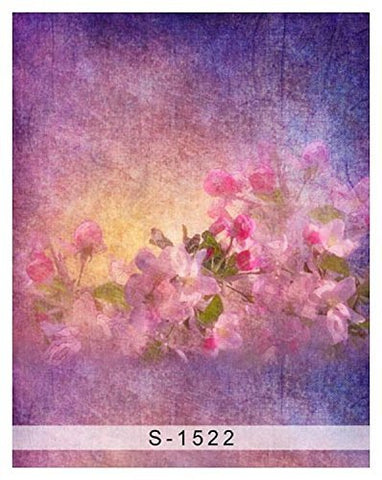 Art Blue Pink Gouache Flower Tulip Photography Studio Backdrop Background