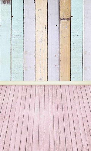 Light Multi Color Wood Wall Pink Wood Floor Photography Studio Backdrop Prop Background