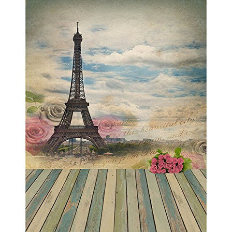 Retro Rose Eiffel Tower Photography Studio Backdrop Background