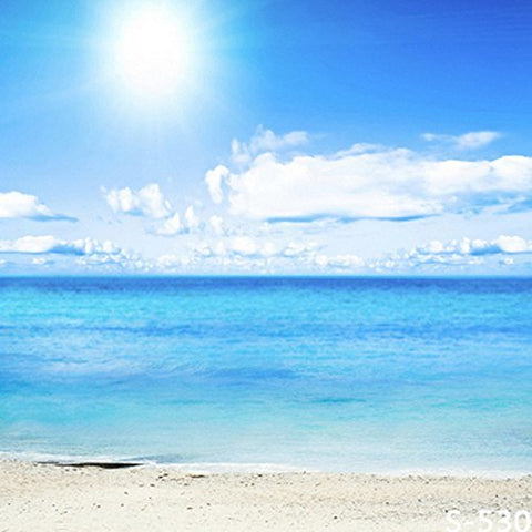 Blue Sky Sea Beach Photography Studio Backdrop Background
