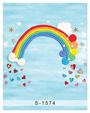Rainbow Blue Sky Star Heart Photography Studio Backdrop Background