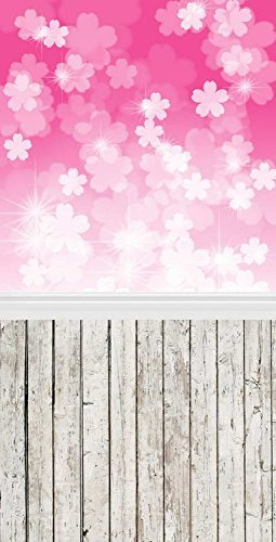 Abstract Pink Flowers Wood Floor Photography Studio Backdrop Prop Background