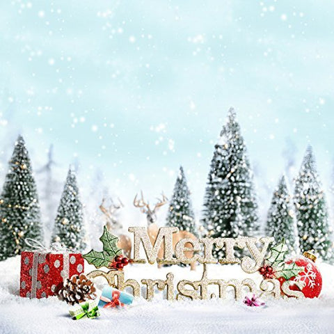 White Xmas Christmas Tree Gifts Letter Photography Studio Backdrop Background