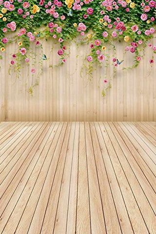 Little Pink Flowers Wood Floor Photography Studio Backdrop Prop Background