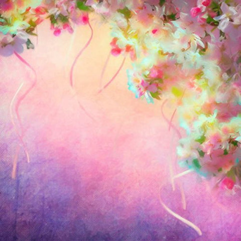 Girl Pink Flowers Ribbons Photography Studio Backdrop Prop Background