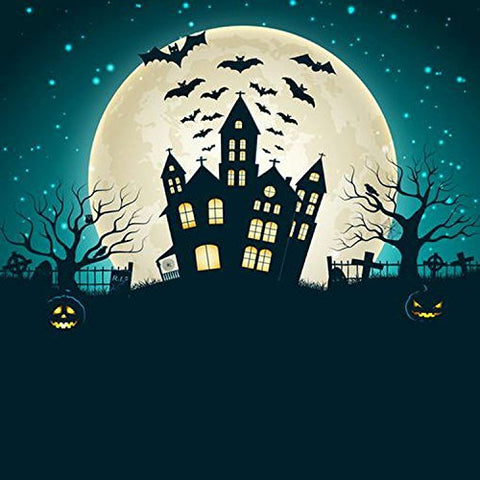 Halloween Hallowmas Moon Bats Building Photography Studio Backdrop Background