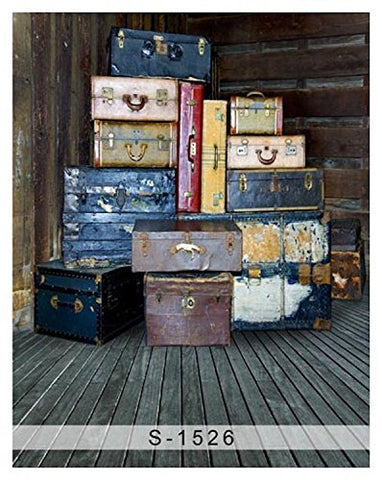 Retro Outdated Old Fashioned Suitcase Wood Floor Photography Studio Backdrop Background