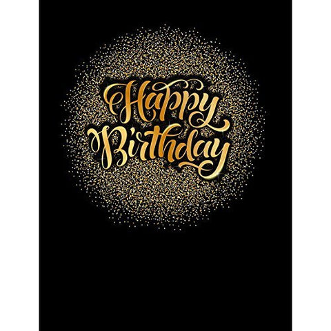 Gold Glitter Happy Birthday Luxury Photography Studio Backdrop Background