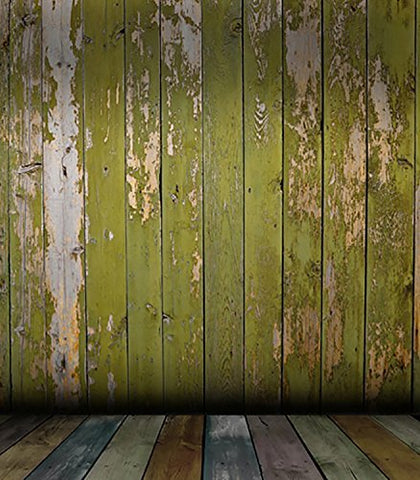 Retro Old Green Wood Wal Floorl Photography Studio Backdrop Background