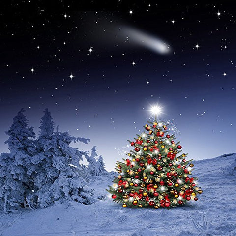 Christmas Tree Winter Snow Meteor Photography Studio Backdrop Background