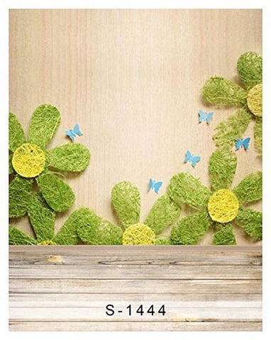 Sunflower Butterfly Wood Floor Photography Studio Backdrop Background