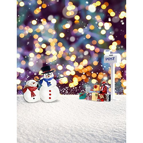 Snowman Winter Mailbox Snow Photography Studio Backdrop Background