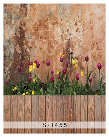 Brown Wall Tulip Wood Floor Photography Studio Backdrop Background