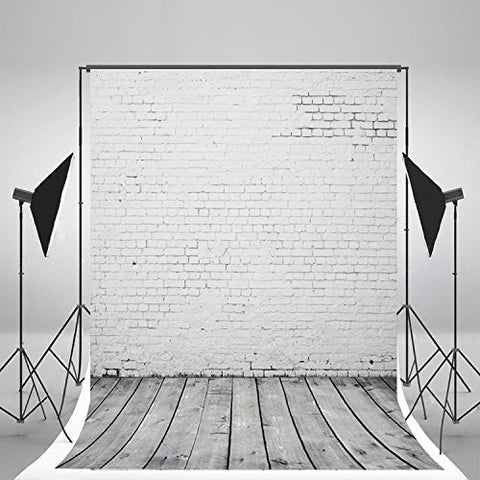 White Brick Wall FloorPhotography Studio Backdrop Background