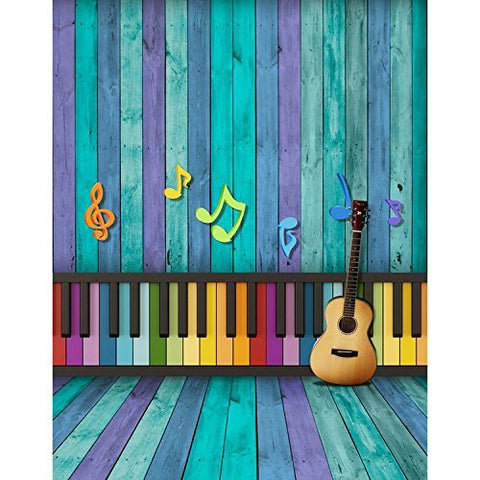 Colored Keyboard Guitar Music Symbol Photography Studio Backdrop Background