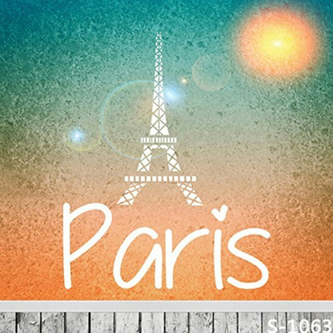 Paris Eiffel Tower Logo Wood Floor Photography Studio Backdrop Background