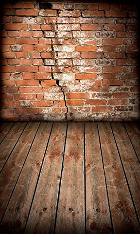 Breach Brick Wall Wood Floor Photography Studio Backdrop Prop Background